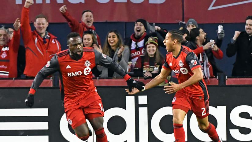 Jozy Altidore, Justin Morrow - Toronto FC - celebrating goal vs. Atlanta - April 8, 2017