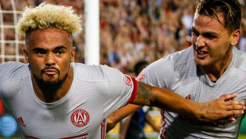 Anton Walkes - Atlanta United - celebrates a goal - close-up