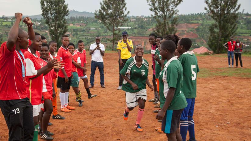 African Road - joy on soccer field