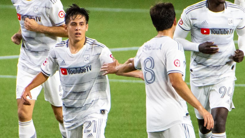 Christian Torres - LAFC - celebrates his first MLS goal - October 18, 2020