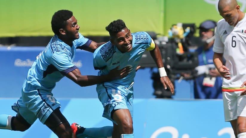 Roy Krishna - Fiji - celebrating a goal in the 2016 Summer Olympics