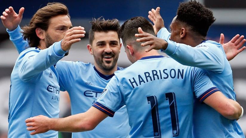 David Villa, Andrea Pirlo, Jack Harrison, Rodney Wallace - New York City FC - celebrating Harrison's goal vs. San Jose