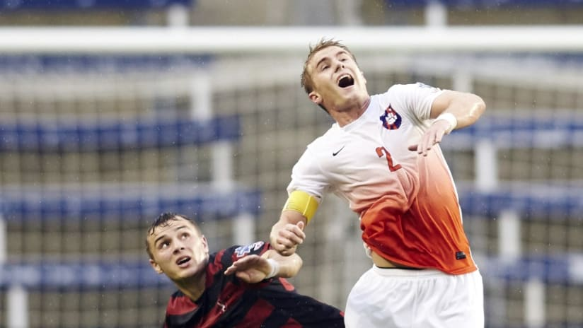 Clemson's Kyle Fisher battles with Stanford's Jordan Morris at 2015 College Cup
