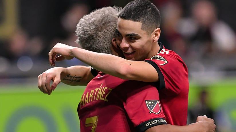 Miguel Almiron, Josef Martinez - Atlanta United - Hug