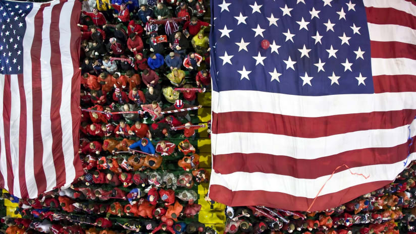 American Outlaws seen from overhead with American flag, 2009