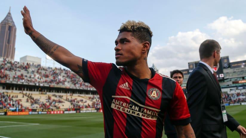 Josef Martinez of Atlanta United salutes the crowd at Bobby Dodd Stadium