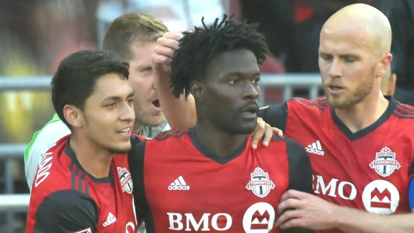Tosaint Ricketts, Michael Bradley, Marky Delgado, Clint Irwin - Toronto FC - celebrate a goal