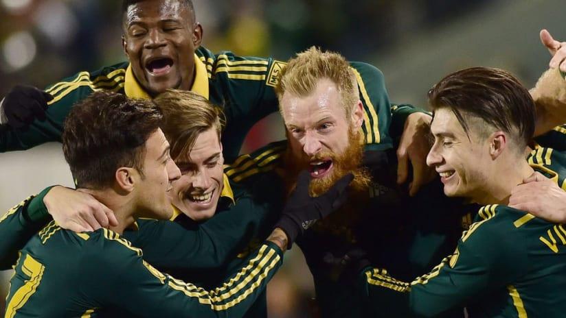Portland Timbers celebrate Nat Borchers goal vs. FC Dallas Maxi Urruti Jorge Villafana Dairon Asprilla Lucas Melano
