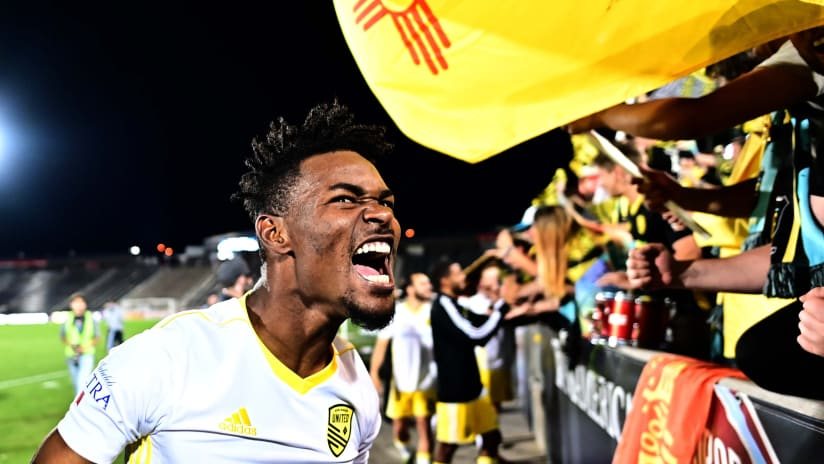 Kevaughn Frater celebrates win - New Mexico United