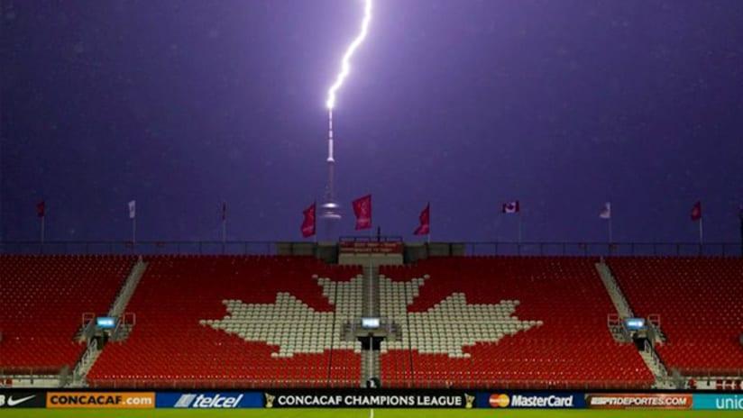Lightning strikes during a CCL match between Toronto FC vs. FC Dallas