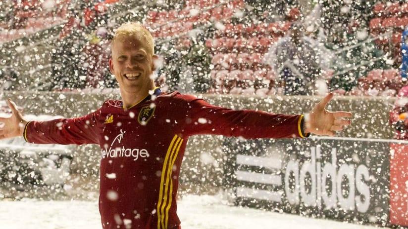 Luke Mulholland - Real Salt Lake - Celebrates in snow