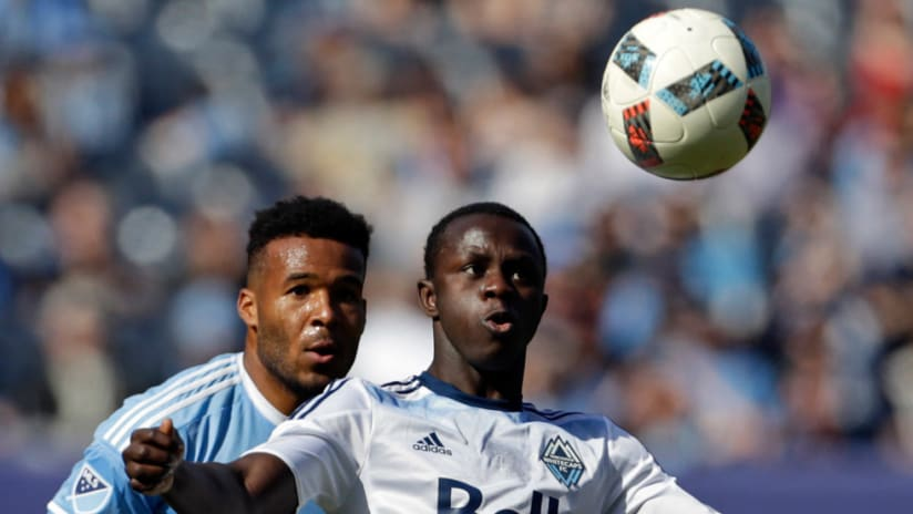 Kekuta Manneh, Ethan White - Vancouver Whitecaps, New York City FC - Close up