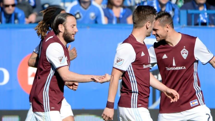 Shkelzen Gashi (Colorado Rapids) celebrates his goal with teammates