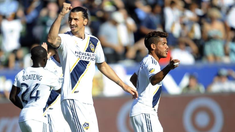 Zlatan Ibrahimovic - LA Galaxy - raises fist in celebration