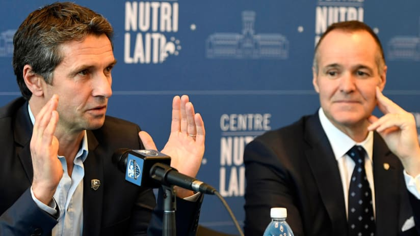 Remi Garde - Joey Saputo - Montreal Impact - speaking at introductory press conference