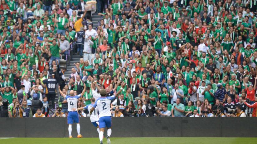 Michael Bradley - US national team - celebrates at Azteca