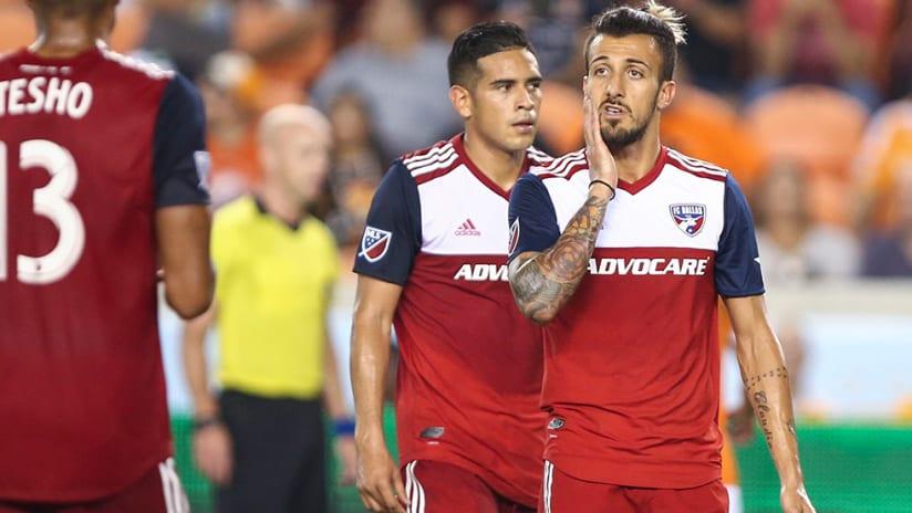 Maxi Urruti, Victor Ulloa - FC Dallas - miffed after Houston equalizer