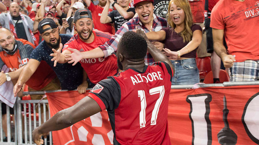 Jozy Altidore - Toronto FC - celebrating with BMO Field fans