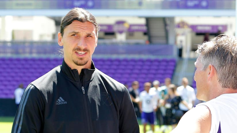 Zlatan Ibrahimovic looks on at All-Star - LA Galaxy