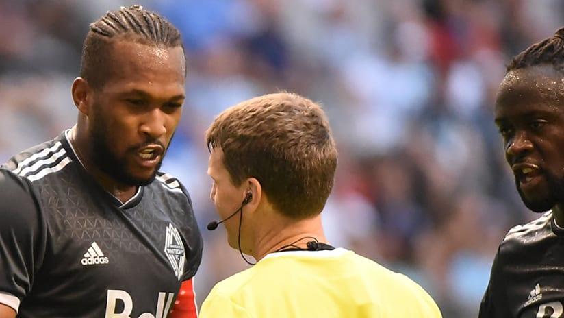 Kendall Waston, Kei Kamara - Vancouver Whitecaps - talking to referee