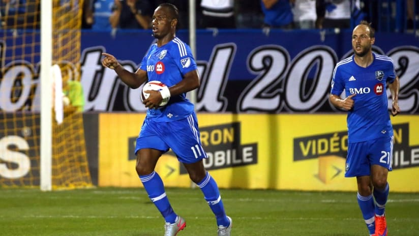 Montreal Impact's Didier Drogba celebrates his hat trick against the Chicago Fire