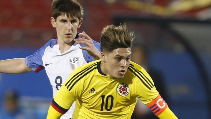 Juan Quintero in action for Colombia U-23s vs. USA U-23s - Olympic qualification