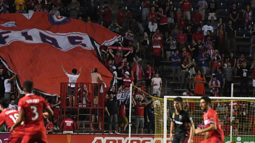 Chicago Fire - jersey tifo - crowd shot during game