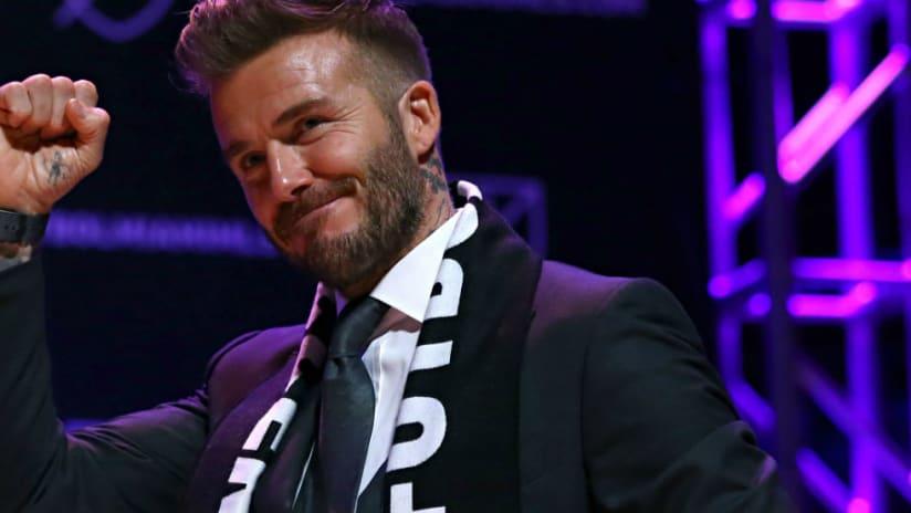 David Beckham -- pumps fist -- Miami expansion announcement