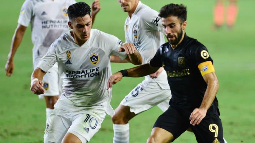 Diego Rossi - LAFC - on the ball - Cristian Pavon - LA Galaxy