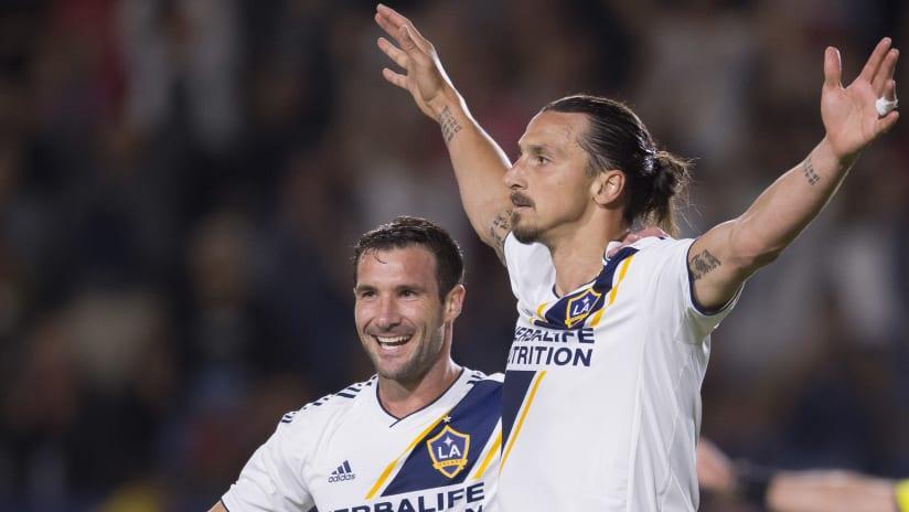 Chris Pontius - Zlatan Ibrahimovic - LA Galaxy - celebrate