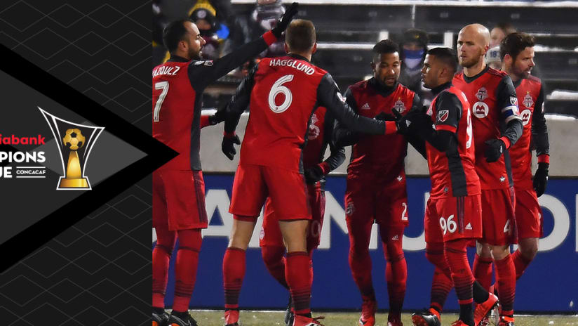 Toronto FC - celebrate a goal at Colorado - with CCL overlay