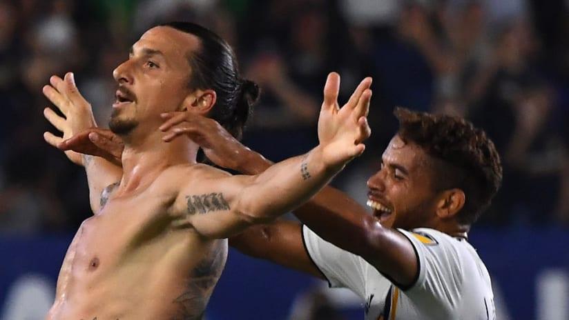 Zlatan Ibrahimovic celebrates hat trick vs. ORL
