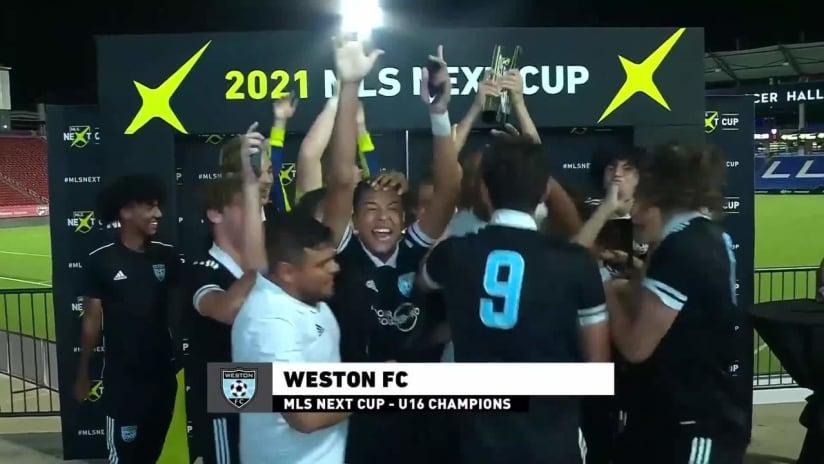 Weston FC raises the first u16 MLS NEXT Cup!