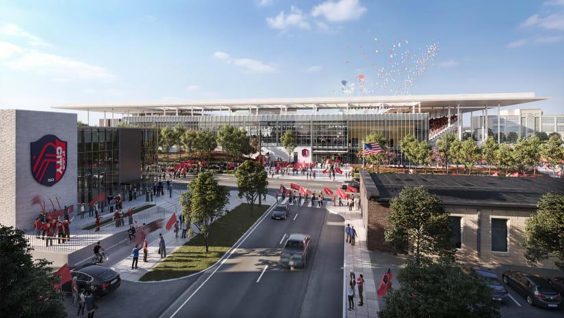 North view of St Louis City SC stadium, fan pavilion