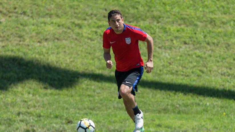 Alejandro Bedoya at USMNT training in Nashville, July 2017