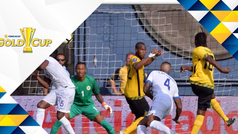 Darren Mattocks - Jamaica - scores vs. Curacao - Gold Cup overlay
