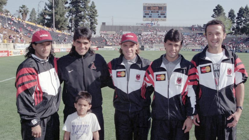 D.C. United players at the first MLS game, 1996