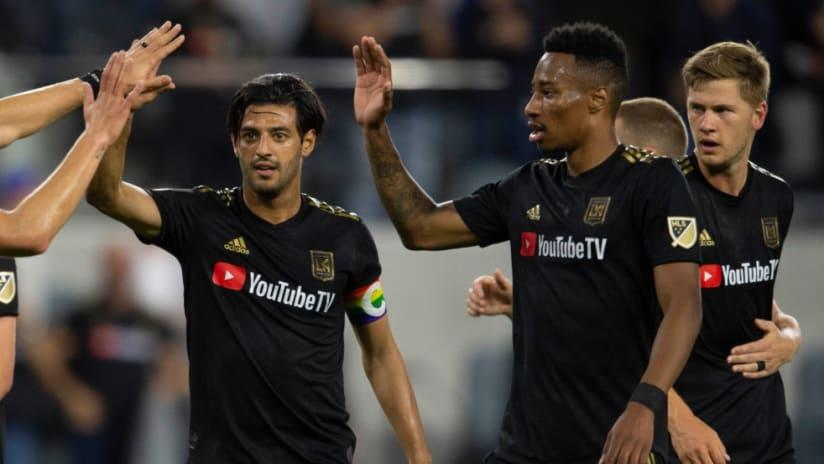 Carlos Vela - Mark-Anthony Kaye - LAFC celebrating