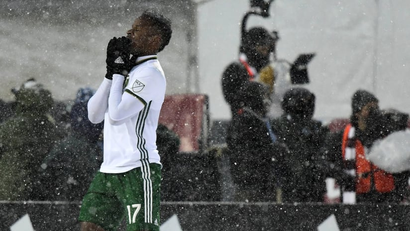 Jeremy Ebobisse disappointed in the snow - Portland Timbers