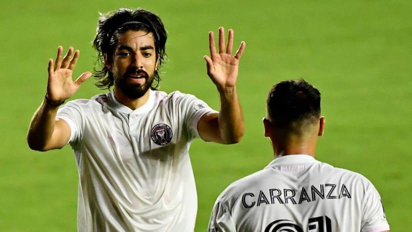 Rodofo Pizarro, Julian Carranza celebrate Inter Miami goal