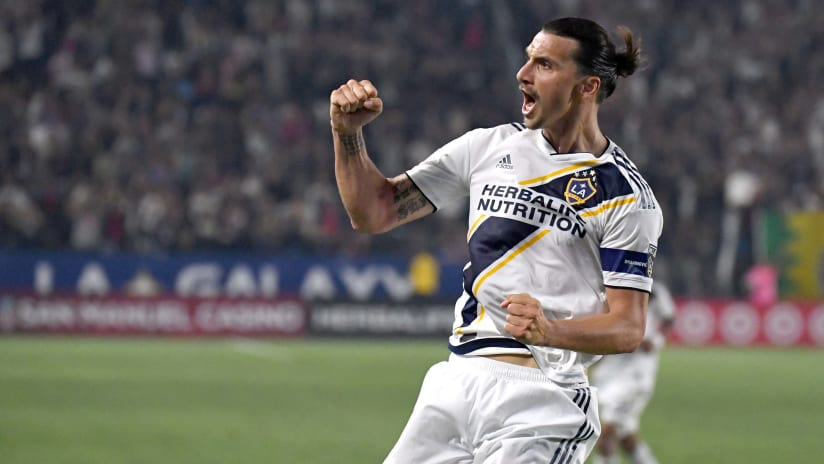 Zlatan Ibrahimovic - LA Galaxy - celebrates a goal
