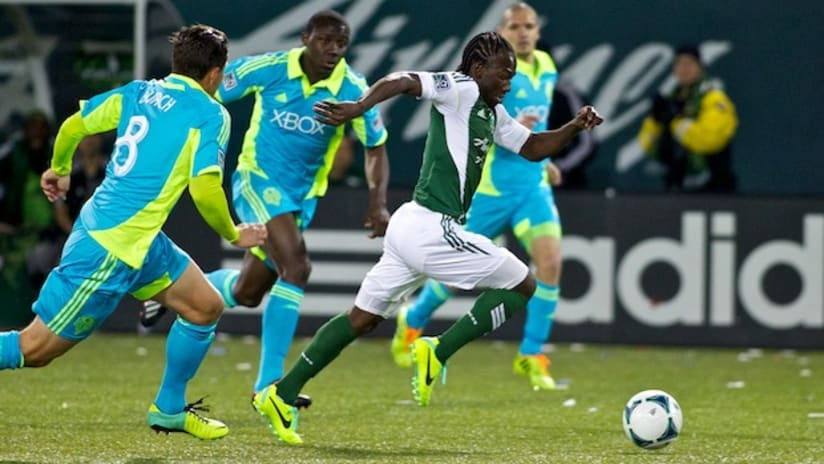 Diego Chara in action for Portland against Seattle in the playoffs