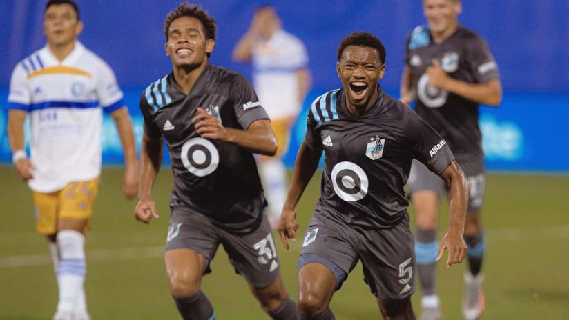 Jacori Hayes - Hassani Dotson - Minnesota United FC - celebrating a goal at the MLS is Back Tournament