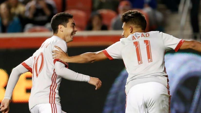 Yamil Asad, Miguel Almiron - Atlanta United - Celebrate Goal