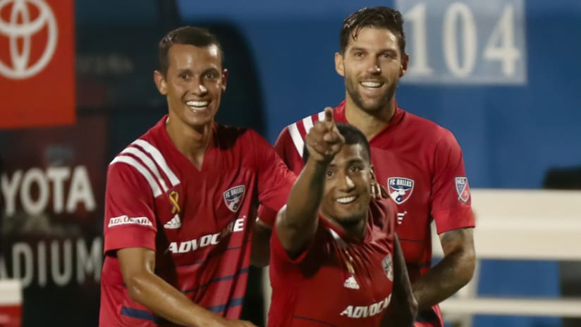 Andres Ricaurte - Santiago Mosquera - Ryan Hollingshead - FC Dallas celebrate a goal
