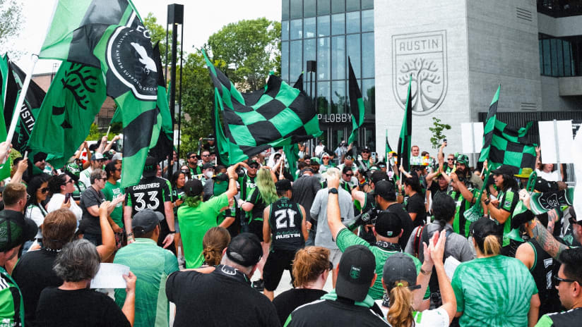 Austin FC supporters get first look at Q2 Stadium with watch party