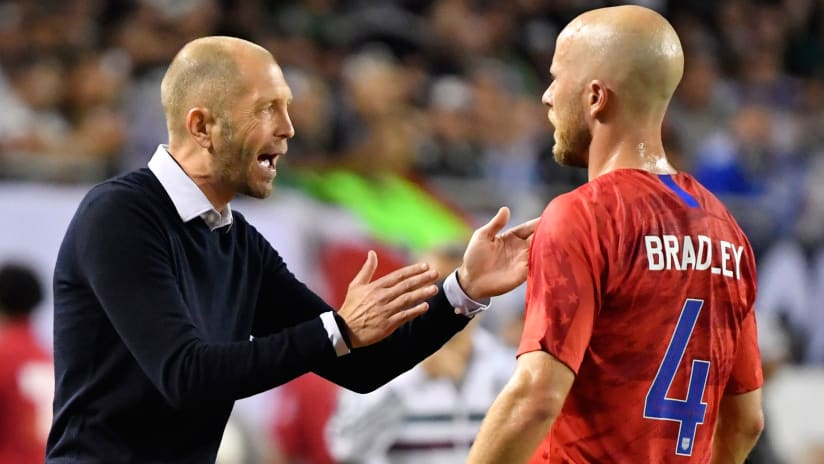 Gregg Berhalter - Michael Bradley - United States - talking on the sideline in the Gold Cup final