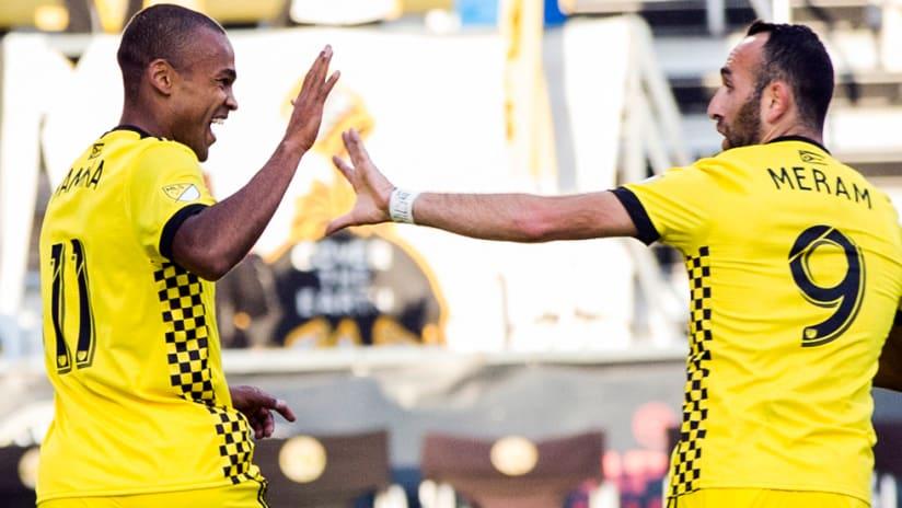Ola Kamara - Justin Meram - Columbus Crew SC - celebrate a goal