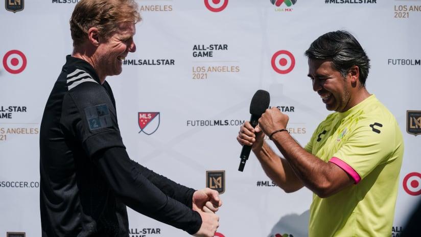 Alexi Lalas and Pavel Pardo Greeting