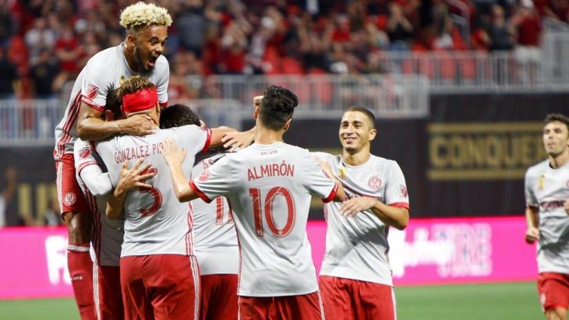 Atlanta United celebrate Kevin Kratz goal vs. New England - Sept. 13, 2017